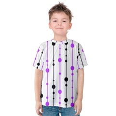 Purple, White And Black Pattern Kid s Cotton Tee by Valentinaart