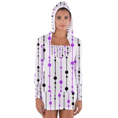 Purple, White And Black Pattern Women s Long Sleeve Hooded T-shirt by Valentinaart