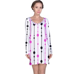 Magenta, Black And White Pattern Long Sleeve Nightdress