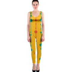 Yellow, Green And Red Pattern Onepiece Catsuit by Valentinaart