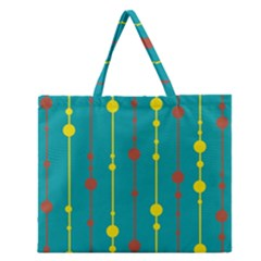 Green, Yellow And Red Pattern Zipper Large Tote Bag by Valentinaart