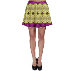 Purple Gold Floral And Paradise Bloom Skater Skirt by pepitasart