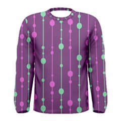 Purple And Green Pattern Men s Long Sleeve Tee by Valentinaart