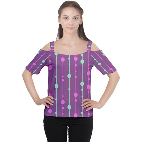 Purple And Green Pattern Women s Cutout Shoulder Tee by Valentinaart
