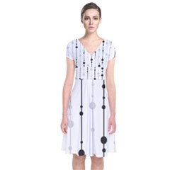 Black And White Elegant Pattern Short Sleeve Front Wrap Dress by Valentinaart