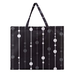 Black And White Pattern Zipper Large Tote Bag by Valentinaart