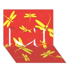 Red And Yellow Dragonflies Pattern I Love You 3d Greeting Card (7x5)  by Valentinaart