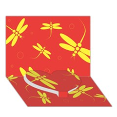 Red And Yellow Dragonflies Pattern Heart Bottom 3d Greeting Card (7x5)  by Valentinaart
