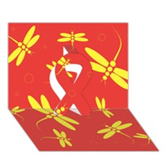 Red And Yellow Dragonflies Pattern Ribbon 3d Greeting Card (7x5)