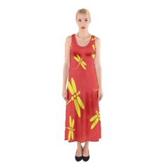 Red And Yellow Dragonflies Pattern Sleeveless Maxi Dress by Valentinaart