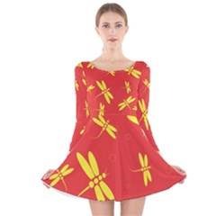 Red And Yellow Dragonflies Pattern Long Sleeve Velvet Skater Dress by Valentinaart