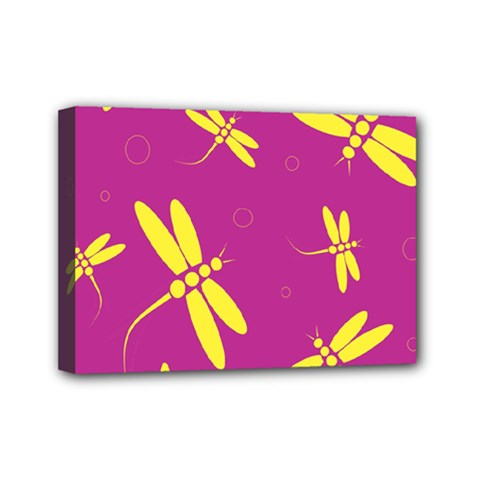 Purple And Yellow Dragonflies Pattern Mini Canvas 7  X 5  by Valentinaart