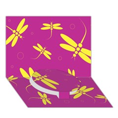Purple And Yellow Dragonflies Pattern Circle Bottom 3d Greeting Card (7x5)  by Valentinaart