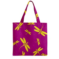 Purple And Yellow Dragonflies Pattern Zipper Grocery Tote Bag by Valentinaart