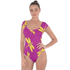 Purple And Yellow Dragonflies Pattern Short Sleeve Leotard