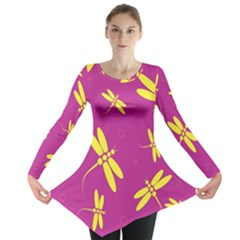 Purple And Yellow Dragonflies Pattern Long Sleeve Tunic  by Valentinaart