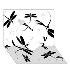 Black And White Dragonflies Heart 3d Greeting Card (7x5)  by Valentinaart