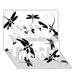 Black And White Dragonflies You Rock 3d Greeting Card (7x5)  by Valentinaart