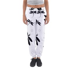 Black And White Dragonflies Women s Jogger Sweatpants by Valentinaart