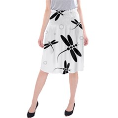 Black And White Dragonflies Midi Beach Skirt by Valentinaart