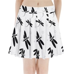 Black And White Dragonflies Pleated Mini Mesh Skirt by Valentinaart