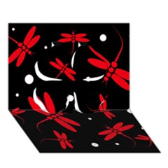 Red, Black And White Dragonflies Clover 3d Greeting Card (7x5)