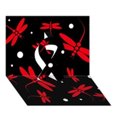 Red, Black And White Dragonflies Ribbon 3d Greeting Card (7x5)  by Valentinaart