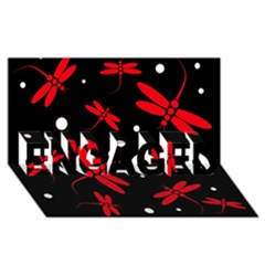Red, Black And White Dragonflies Engaged 3d Greeting Card (8x4)