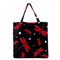 Red, Black And White Dragonflies Grocery Tote Bag by Valentinaart