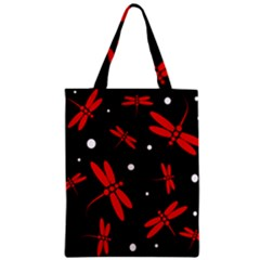 Red, Black And White Dragonflies Classic Tote Bag by Valentinaart