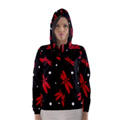 Red, Black And White Dragonflies Hooded Wind Breaker (women) by Valentinaart
