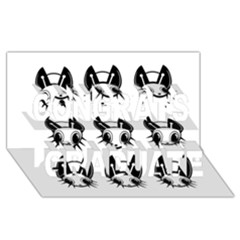 Black And White Fireflies Patten Congrats Graduate 3d Greeting Card (8x4)