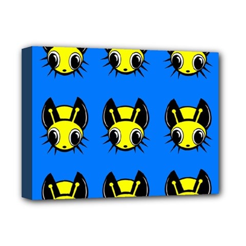 Yellow And Blue Firefies Deluxe Canvas 16  X 12   by Valentinaart