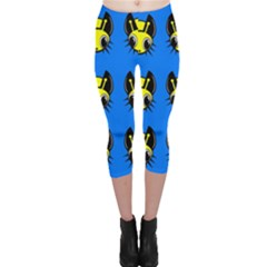 Yellow And Blue Firefies Capri Leggings  by Valentinaart