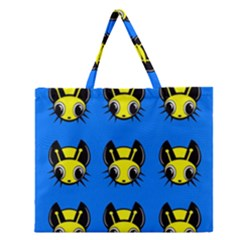 Yellow And Blue Firefies Zipper Large Tote Bag by Valentinaart