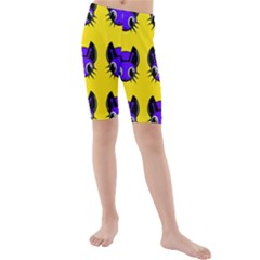Blue And Yellow Fireflies Kid s Mid Length Swim Shorts by Valentinaart