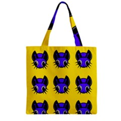 Blue And Yellow Fireflies Zipper Grocery Tote Bag by Valentinaart