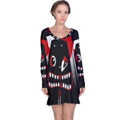 Zombie Face Long Sleeve Nightdress by Valentinaart