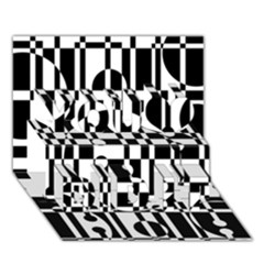 Black And White Pattern You Did It 3d Greeting Card (7x5) by Valentinaart