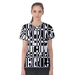 Black And White Pattern Women s Cotton Tee by Valentinaart