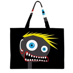 Crazy Man Zipper Large Tote Bag by Valentinaart