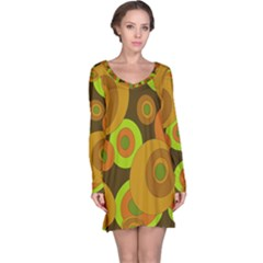Brown Pattern Long Sleeve Nightdress