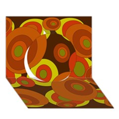 Orange Pattern Circle 3d Greeting Card (7x5)  by Valentinaart