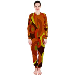Orange Pattern Onepiece Jumpsuit (ladies)  by Valentinaart