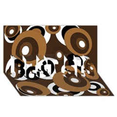 Brown Pattern Best Sis 3d Greeting Card (8x4)  by Valentinaart