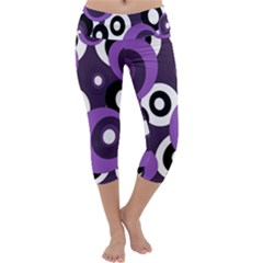 Purple Pattern Capri Yoga Leggings by Valentinaart