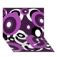 Purple Pattern Circle Bottom 3d Greeting Card (7x5)  by Valentinaart