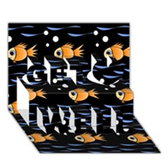 Fish Pattern Get Well 3d Greeting Card (7x5)  by Valentinaart