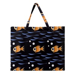 Fish Pattern Zipper Large Tote Bag by Valentinaart