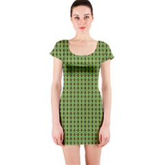 Mod Green Orange Pattern Short Sleeve Bodycon Dress by BrightVibesDesign